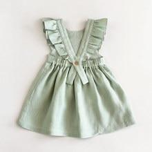 Vestido de princesa de algodón y lino para niña, fresco y bonito, color sólido, sin mangas, MZ20LB0485T, novedad de Verano de 2020