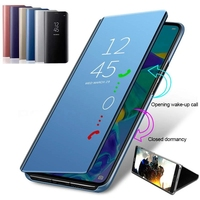 Smart Mirror Flip Phone Case For Samsung Galaxy A12 A52 S21 S10 S9 S8 Plus S20 FE Ultra Note 9 8 20 10 Lite S10e S7 Edge Cover
