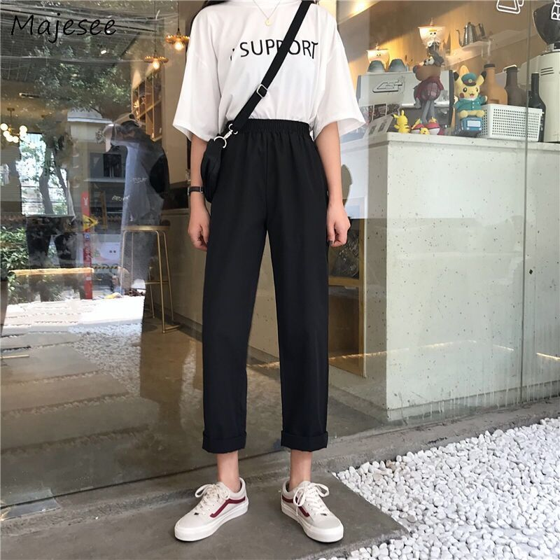 Pants Women Black Straight Pockets Elastic Waist All-match Simple Student Korean Style Womens Trousers New Chic Females Harajuku