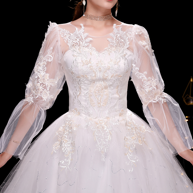 Vintage Lace Court Train Wedding Bride Gowns Vestido De Noiva Sexy Scoop 3D Beaded Flowers Princess Wedding Dress Long Sleeve