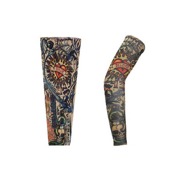 1 шт. кожа Proteive нейлоновые эластичные Поддельные Временные татуировки рукава руки чулки Дизайн тела крутые мужские унисекс модные руки теплее
