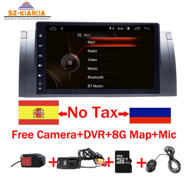 9 1024x600 HD Touch Screen 1 din Android 9.1 Car Multimedia Radio Stereo for BMW E39 E53 X5 GPS Wifi 4G Bluetooth DVR RDS USB image