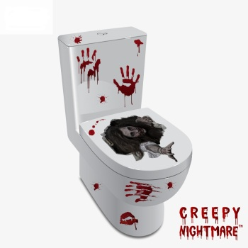 Horror Ghost With Grudge Toilet Glass Window Sticker Home Decor Removable Halloween Living Room Classroom Decoration Wallpaper image