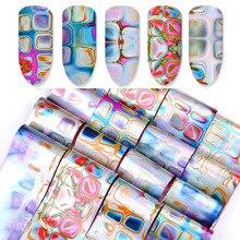 Поперечная граница для нового стиля наклейки для ногтей лабиринт градиентный Smudge звезда наклейки для ногтей s мрамор Цветочные наклейки 16-смешанные