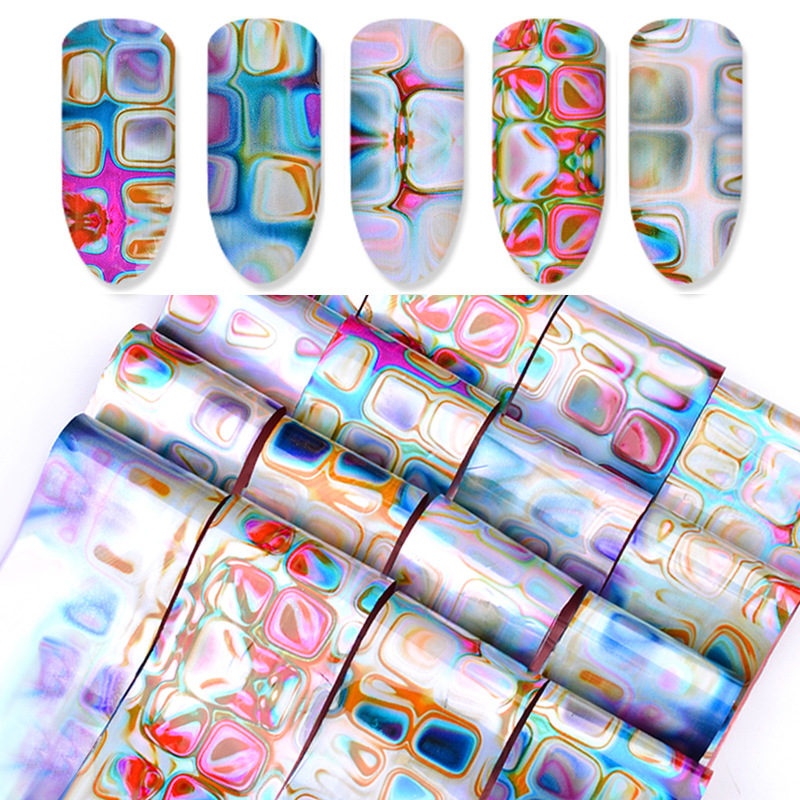 Cross Border For New Style Nail Sticker Maze Gradient Smudge Star Nail Stickers Marble Flower Stickers 16-Mixed