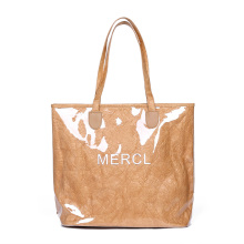 2010 Fashion Luxury Kraft Paper Tote Handbags Japanese Casual Vintage Large Tranparnt PVC Jelly Travel Shopping Shoulder Bag