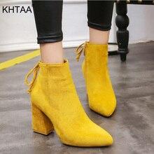가을 겨울 발목 부츠 여성 솔리드 스웨이드 펌프 여성 우아한 숙녀 지적 발가락 Botas 레이스 스퀘어 발 뒤꿈치 클래식 신발