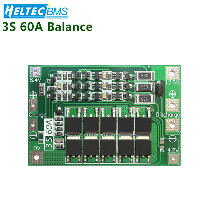 3S 60A BMS Balance Battery Management System18650 BMS Lifepo4 Lithium Battery Protection Board/BMS Board For Drill Motor