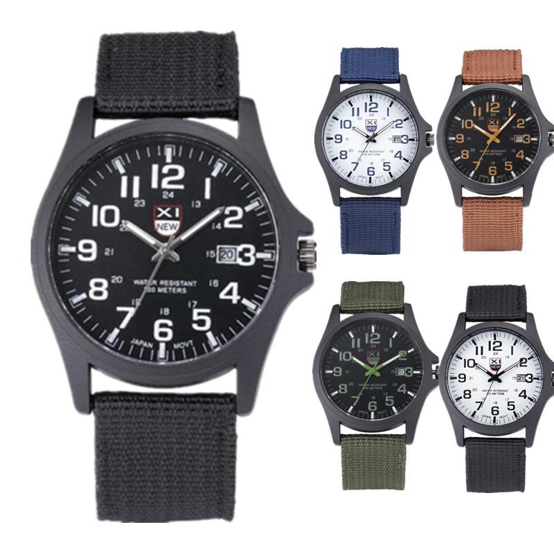 Men's Fashion Military Sport Outdoor High Quality  Quartz Watch Nylon Band Stainless Steel Case Men Clock Coll Gift Wristwatches