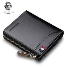 LAORENTOU Men Wallet Genuine Leather Card Holder Man Luxury Short Wallet Purse Zipper Wallets Casual Standard Wallets for Male