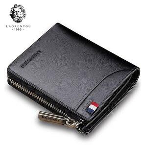 Image 1 - LAORENTOU Men Wallet Genuine Leather Card Holder Man Luxury Short Wallet Purse Zipper Wallets Casual Standard Wallets for Male