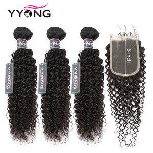 YYong Hair Store 3 Bundles With 4x6 Closure Brazilian Kinky Curly Hair Bundles With Closure Remy Human Hair Weave With Closure(China)