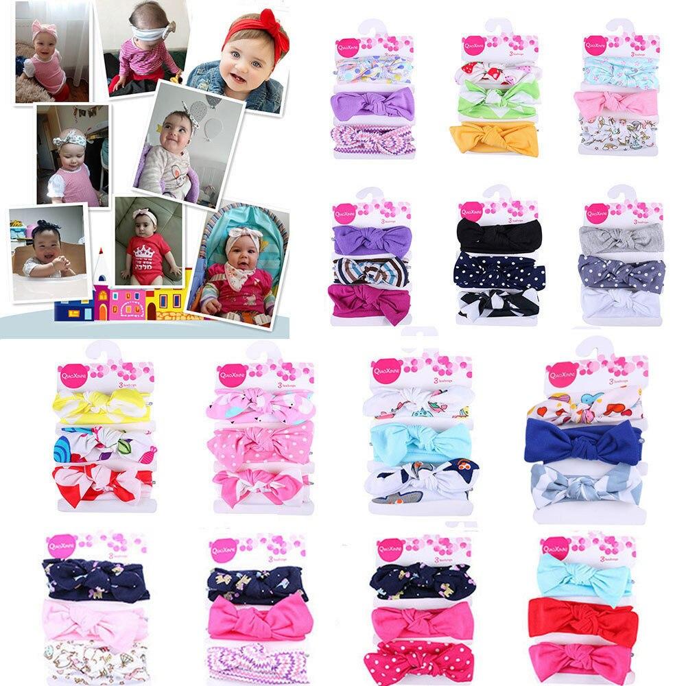 3Pcs Baby Girls Hair Accessories Kids Elastic Floral Headband Hair Girls Baby Bowknot Elastic Bands Headwear Hairband Set