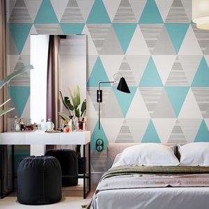 Image 3 - New Fashion Geometric Abstraction Wallpaper Roll Color Plaid Wall Paper PVC Waterproof Bedroom Living Room Wall
