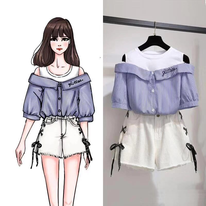 Plus Size Women Korean Summer 2 Pieces Set Women Sexy Off Shoulder Striped Shirts And Side Bandage Denim Shorts Sets Beach Wear