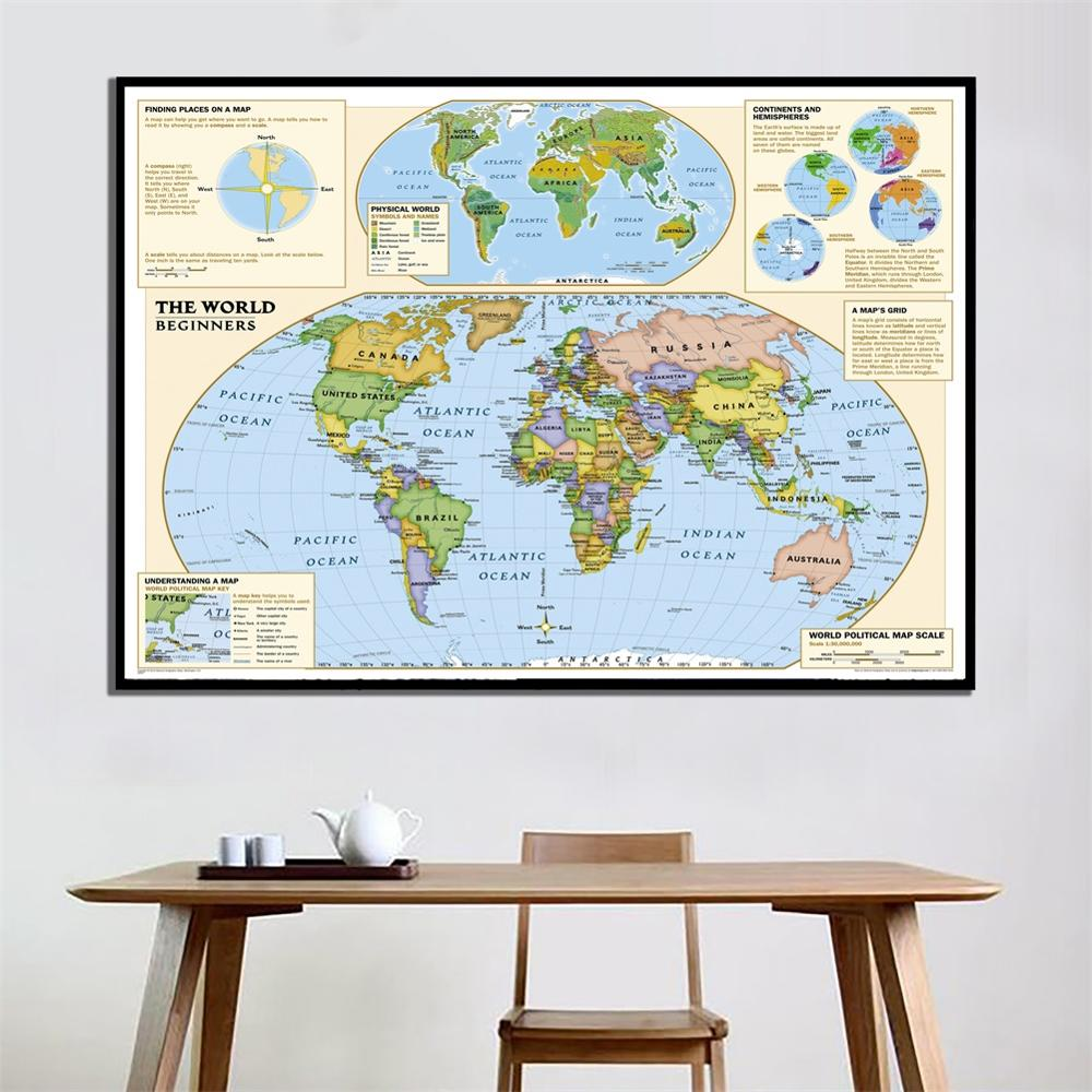 A2 Size The World Map Simple Version Fine Canvas Spray Painting For Beginner Home Office Wall Decor Map