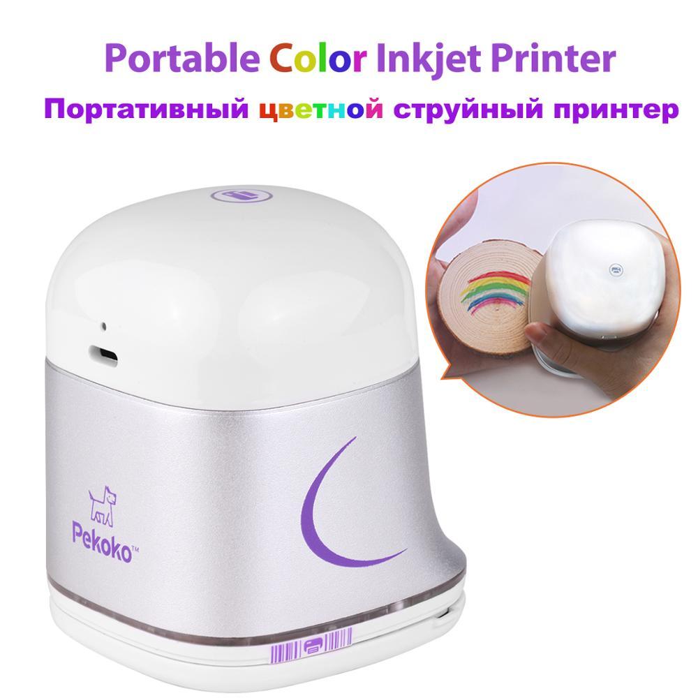 Портативный цветной струйный принтер Pekoko, ручной принтер с поддержкой беспроводного подключения 1200 точек/дюйм для индивидуального текстов...