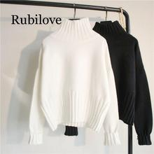 Rubilove Turtleneck Sweater Women Pullover High Elasticity Knitted Ribbed Slim Jumper Autumn Winter Basic Female Sweater rohopo semi high collar puff long sleeve pullover sweater vertival ribbed elasticity waistband knitted thick tops 2314