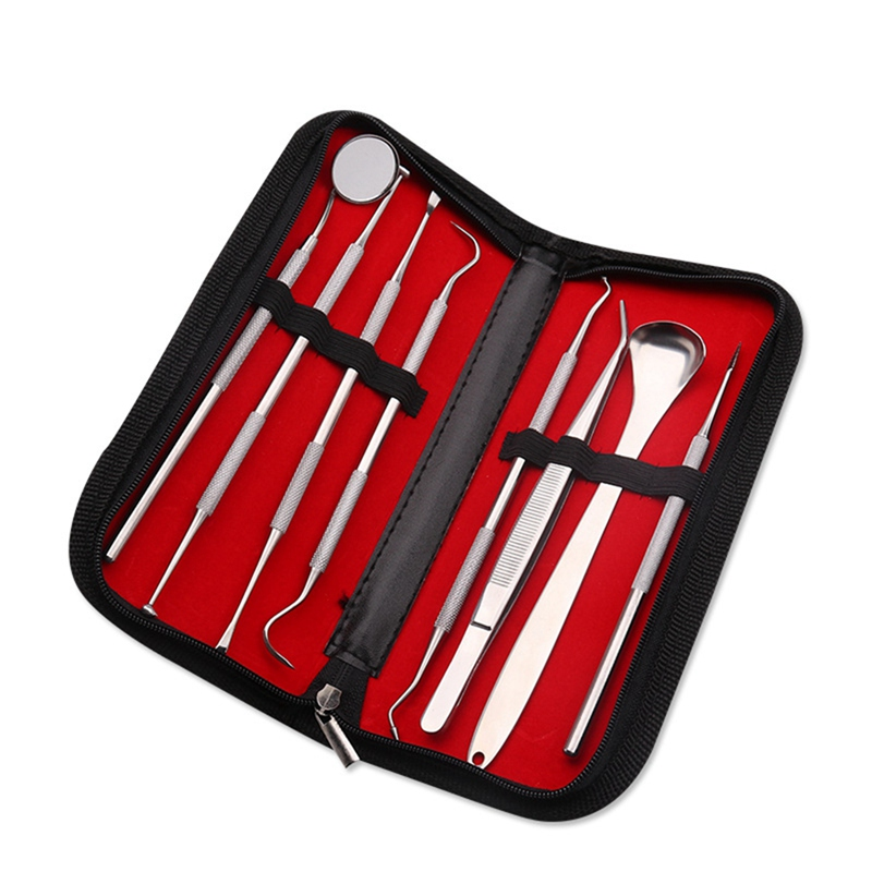 8 Pcs/set Pet <font><b>Dog</b></font> Dental Tools Stainless Steel Teeth Cleaning Tools Kit For Plaque Calculus Tartar Remover Pet Products image