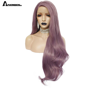Image 2 - Anogol Purple Long Natural Wave High Temperature Fiber Hairline Hair Wigs Soft Swiss Synthetic Lace Front Wig for White Women