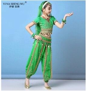 Image 3 - Ensemble Costumes de danse du ventre pour enfants, ensemble de Costumes de danse du ventre Oriental, vêtements indiens, 4 couleurs