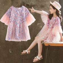 Girl Dress Kids Dresses For Girls Mesh Casual Lace Voile A-Line Princess Baby Girl Clothes New Petal Sleeve Dress Kids Clothes