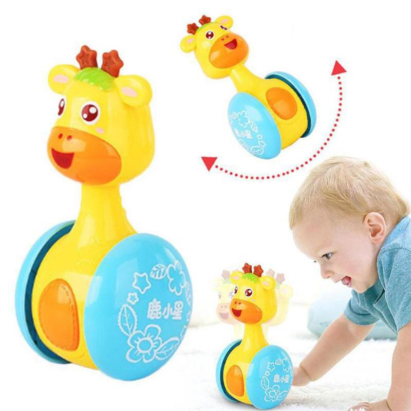 Cartoon Baby Rattles Mobiles Giraffe Tumbler Toddler Toys For Children Kids Handle Educational Musical Dolls Bed Bells Stroller