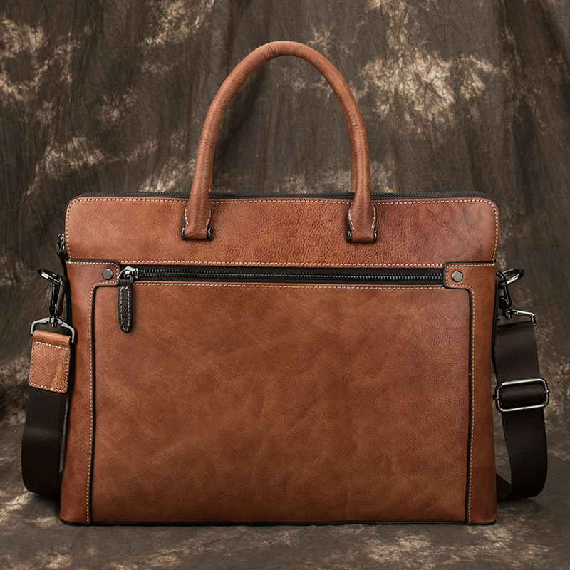 MAHEU Newest 100% Genuine Leather Laptop Bag Business Travel Briefcase Shoulder Bag Dual Use Men Leather Bags For Office Worker image