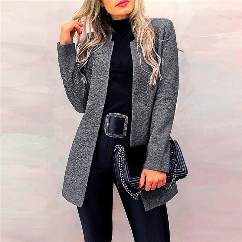 Office Casual Slim Coat Classic Women Autumn Winter Long Sleeve Stand Collar Solid Color Cardigan Mid Jacket Female OL Suit Coat