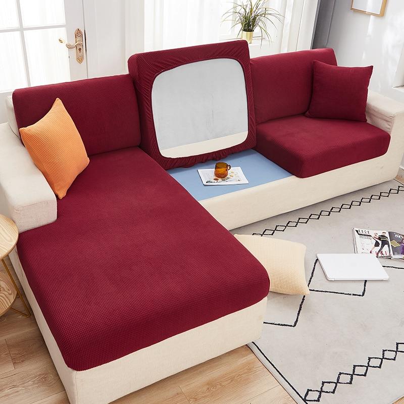 Capa de almofada de sofá grosso elástico protetor de móveis sofá almofada de assento slipcover cor sólida