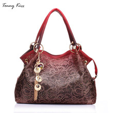 Tonny Kizz Bolsa do Saco Das Mulheres Oco Out Ombre Print Floral Ombro Sacos Ladies Pu Leather Tote Bag(China)