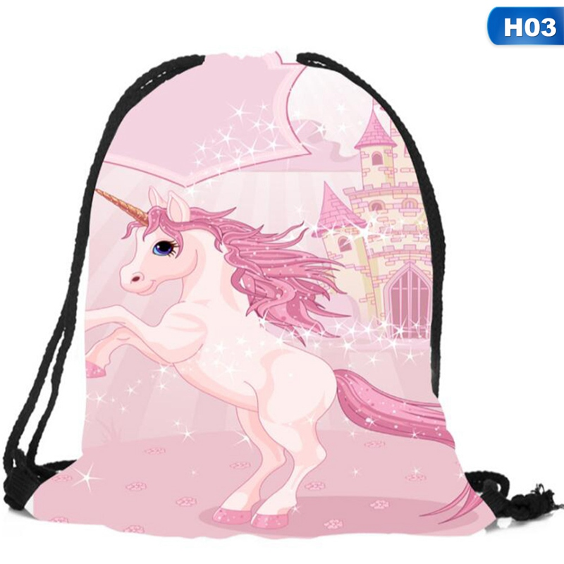 New Cute Kid Baby Unicorn Pattern  Bags Swimming Bags Gym Pump Bag  School Drawstring Boy Girl Backpack Hot Sale