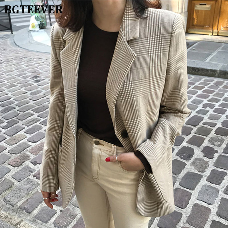 Vintage Women Plaid Blazer Coat Houndstooth Pattern Single-breasted Female Suit Jackets 2019 Autumn Loose Blaser Outwear Femme