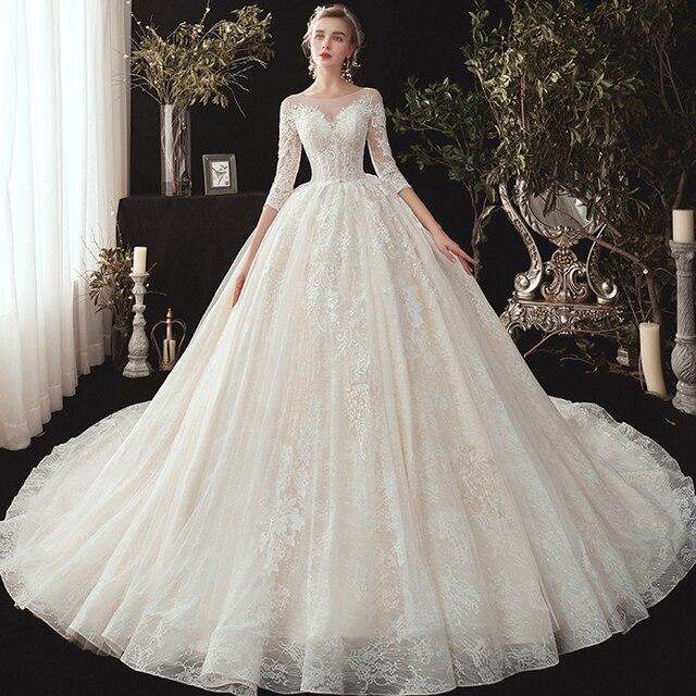 חדש מגיע שלושה רבעון שרוול ואגלי אפליקציות תחרה נסיכת כדור שמלת חתונת שמלות בתוספת גודל  סין חלוק Mariee