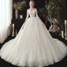 New Arrive Three Quarter Sleeve Beading Appliques Lace Princess Ball Gown Wedding Dresses Plus Size  China Robe Mariee