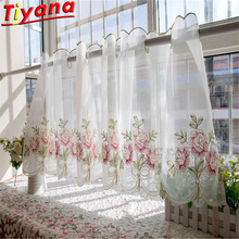 Red Flower Embroidery Half Curtain Home Decoration Door Window Simple Romantic Curtain Partition Rose kitchen Drapes WH139#3