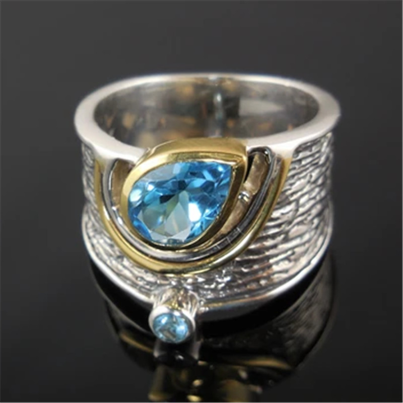 Huitan Drop Shipping Ethnic Women Rings Personality Design with Water Drop Stone Female Party Ring Birthday Gift Jewelry Ring