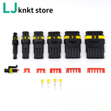 цена на 10 set Kit 2 pin 1/2/3/4/5/6 pins Way AMP Super seal Waterproof Electrical Wire Connector Plug for car waterproof connector