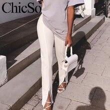 MissyChilli 스키니 긴 연필 분할 바지 하의 여성 우아한 흰색 검은 바지 여름 높은 허리 사무실 레이디 바지 & capris