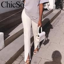 Женские узкие брюки карандаш MissyChilli с разрезом, элегантные белые и черные брюки, летние офисные женские брюки и капри с высокой талией