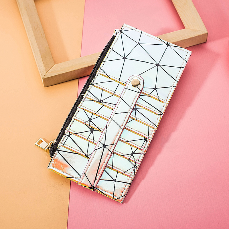 New Style Mirror Card Bit More Laser Wallet Zipper Large Capacity Purse Wallet Geometry Rhombus Wallet