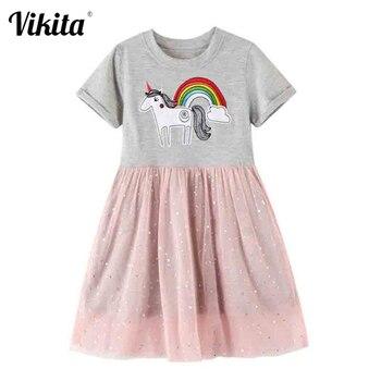 VIKITA Girls Cartoon Dress Toddlers Princess Summer Short Sleeve Dresses Children Patchwork Vestidos Kids Unicorn Clothes
