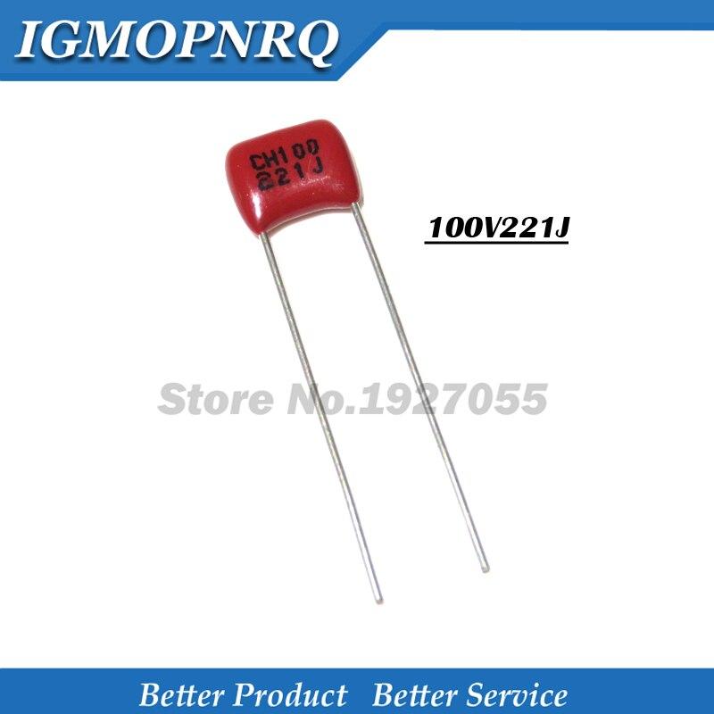 20PCS 100V221J 220PF 5% Pitch 5mm 220P 221 100V CBB Polypropylene film capacitor 100V221J-P5