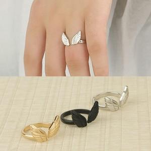 Модные женские кольца с крыльями ангела, Серебряное золото, черное обручальное свадебное кольцо, готические элегантные вечерние ювелирные ...