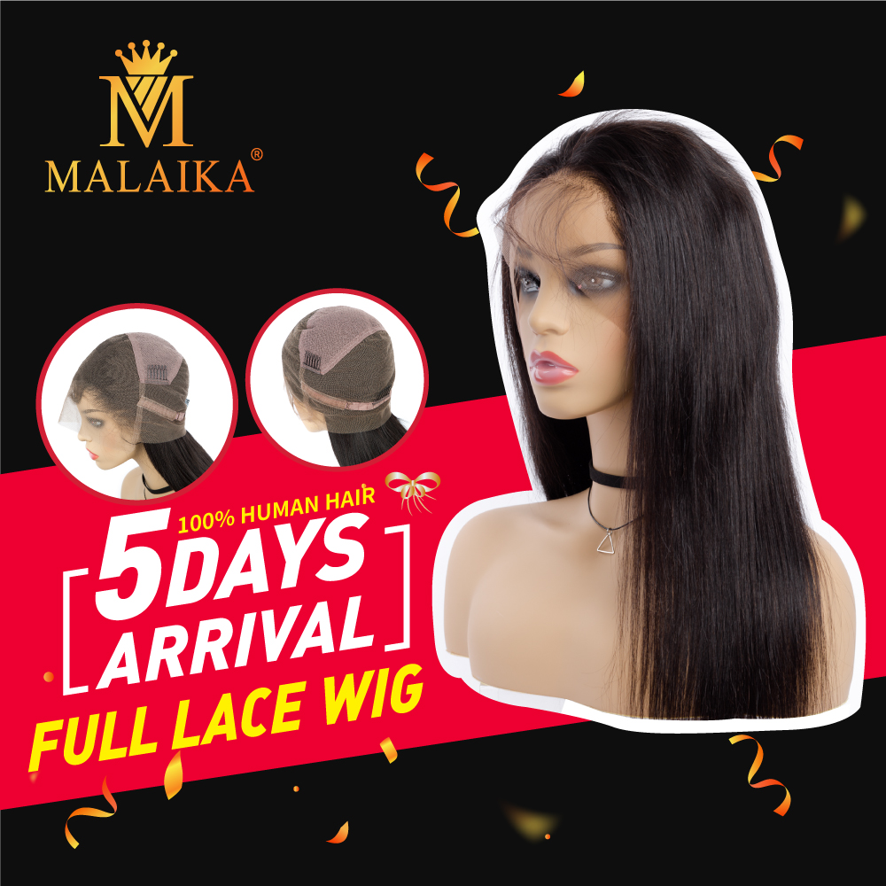 Straight Human Hair Wigs  Lace Frontal Wig Straight Lace Front Wigs MALAIKA HAIR Malaysian Lace Front Human Hair Wigs