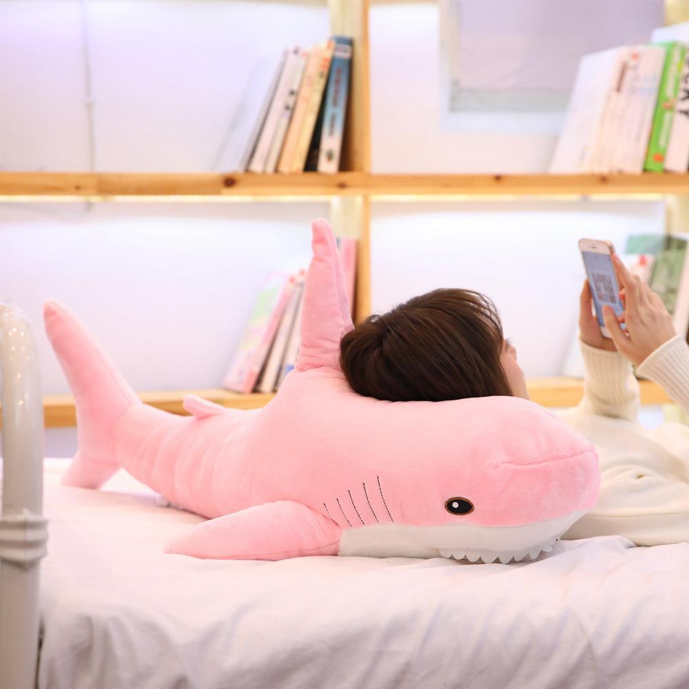 Juguetes de felpa de tiburón Kawaii para niños y niñas, almohada rusa de relleno de 15-140CM
