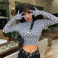 T-Shirt Women Gloves Turtleneck Crop-Top Long-Sleeve Streetwear Print Sexy Kliou