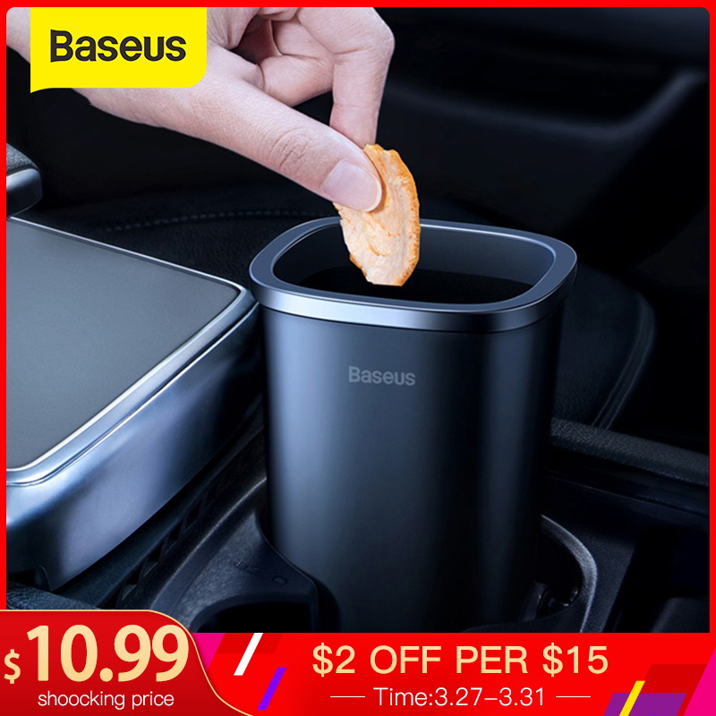 Baseus Car Trsah Bin 800ml Auto Garbage Can Car-styling Rubbish Box Holder With 90pcs Garbage Bag Accessories