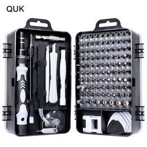 Image 1 - Jeu de tournevis QUK pour la réparation de téléphones 115 en 1, outil manuel de précision, embout de tournevis Torx à cliquet isolé magnétique