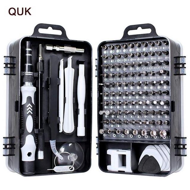 Jeu de tournevis QUK pour la réparation de téléphones 115 en 1, outil manuel de précision, embout de tournevis Torx à cliquet isolé magnétique